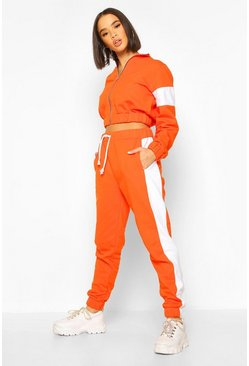 Orange Zip Through Cropped Colour Block Tracksuit
