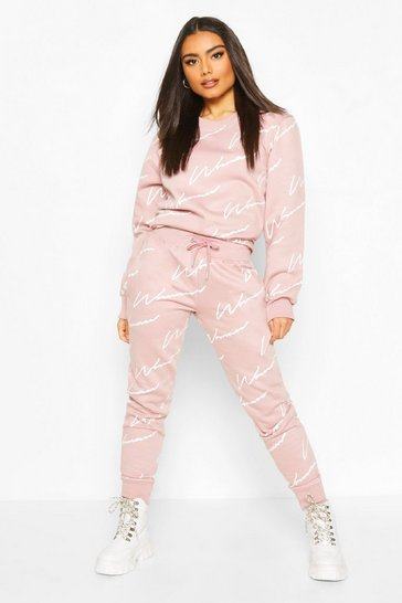 Dusky pink Woman Signature Sweater Tracksuit