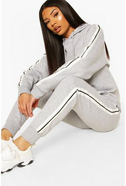 Grey Woman Side Stripe Hoodie Tracksuit