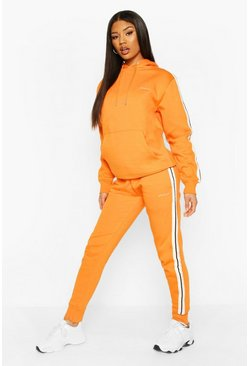 Orange Woman Side Stripe Hoodie Tracksuit
