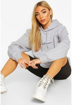 Grey marl Woman Signature Oversized Hoodie