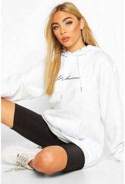 Woman Signature Oversized Hoodie , White