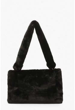 Black Faux Fur Ring Detail Over Shoulder Bag