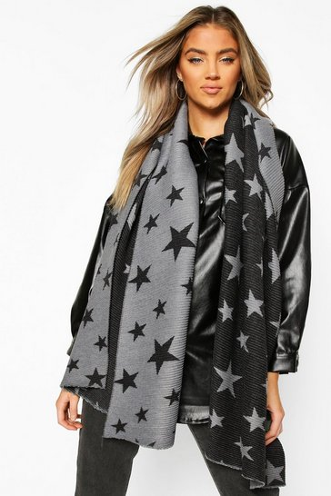 Black Oversized Rib Star Reversable Scarf
