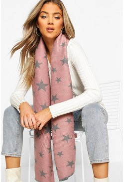 Pink Oversized Rib Star Reversable Scarf
