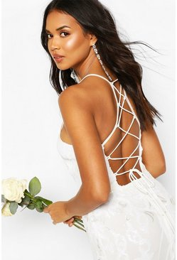 White Occasion Sequin Lace Up Back Maxi Dress