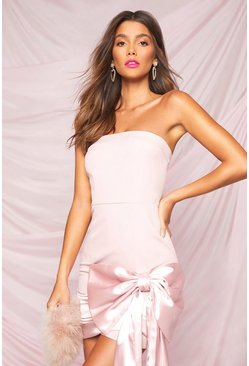 Pink Occasion Bandeau Bow Detail Mini Dress