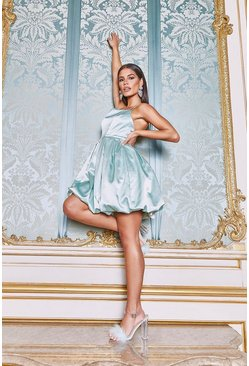 Pastel blue Occasion Satin Extreme Puff Mini Dress