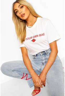 T-shirt con slogan Be Your Own Bae, Bianco