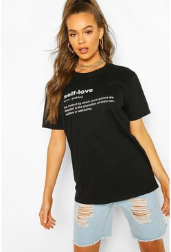 Black Self Love Slogan T-Shirt