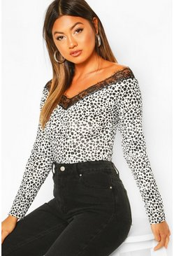 White Dalmation Print Lace Trim Top