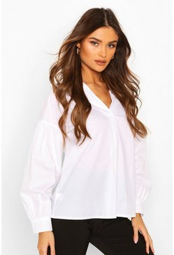 Puff Sleeve Cotton Mix Shirt, White
