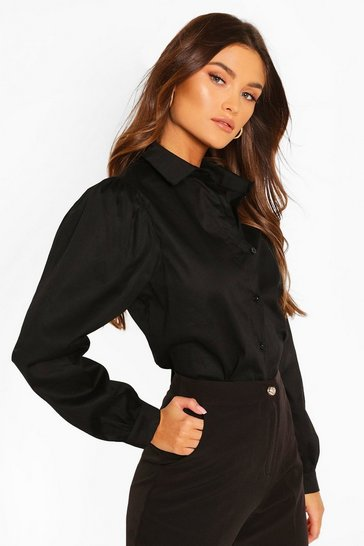 Black Big Sleeve Cotton Mix Blouse