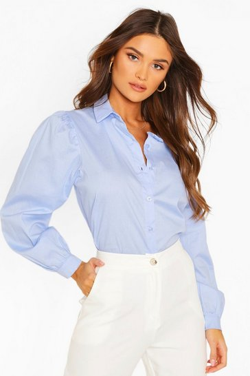 Blue Big Sleeve Cotton Mix Blouse