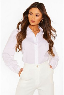 White Big Sleeve Cotton Mix Blouse