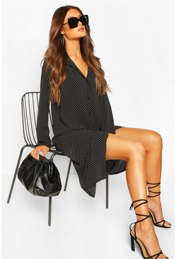 Polka Dot Pleat Front Shirt Dress, Black