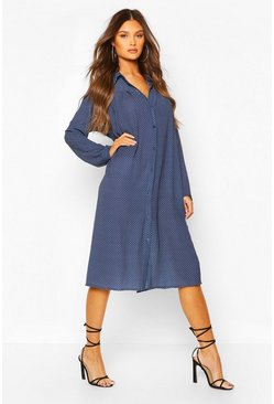 Navy Polka Dot Pleat Front Shirt Dress