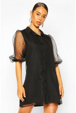Organza Dobby Mesh Shirt Dress, Black