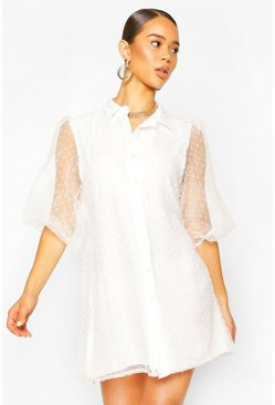 White Organza Dobby Mesh Shirt Dress