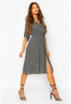 Black Leopard Split Midi Shirt Dress