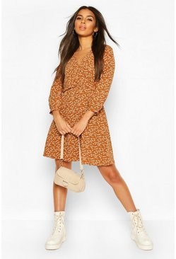 Rust Ditsy Wrap Skater Dress