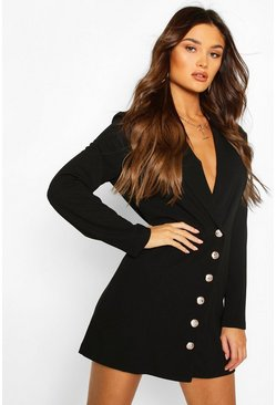 Black Military Button Blazer Dress