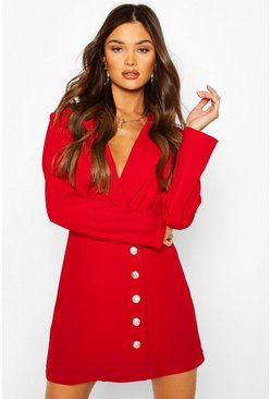 Red Military Button Blazer Dress