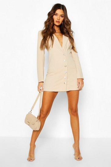 Stone Military Button Blazer Dress