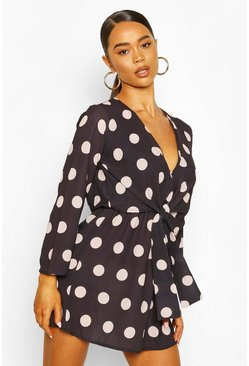 Black Polka Dot Knot Front Dress