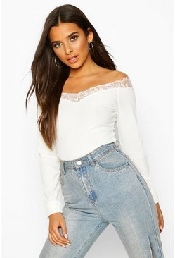 Ivory Lace Trim Rib Top
