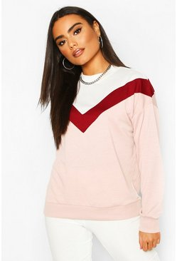 Pale pink Colour Block Chevron Sweatshirt