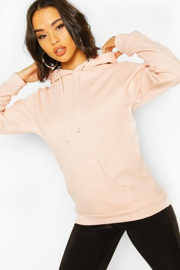 Pink Basic Pocket Detail Hoody