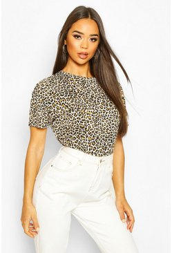 Oversized Leopard T-Shirt, Natural