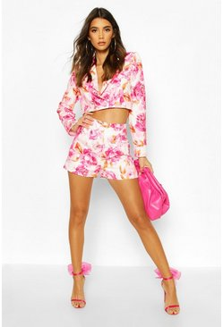Pink Pleated Front Floral Tailored Shorts