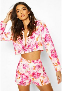 Pink Crop Floral Tailored Jacket