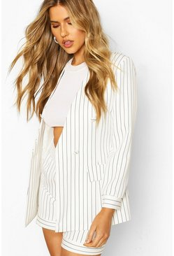 White Pinstripe Collarless Double Breasted Blazer