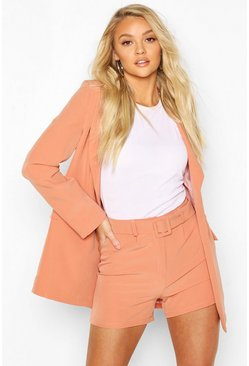 Coral Belted Mix & Match Tailored Shorts