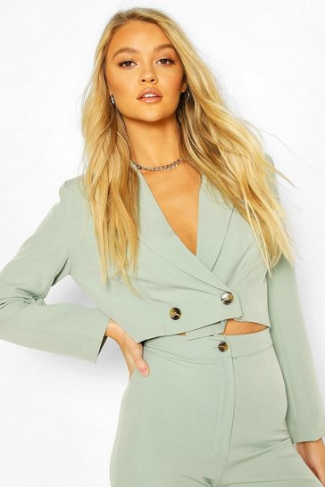 Sage Crop Mix And Match Tailored Blazer