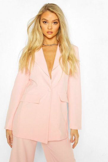 Blush Cut Away Button Mix & Match Tailored Blazer