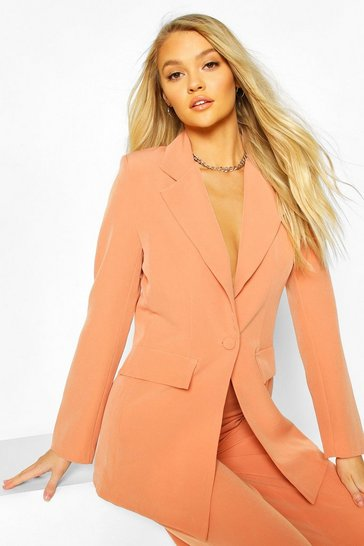 Coral Cut Away Button Mix & Match Tailored Blazer