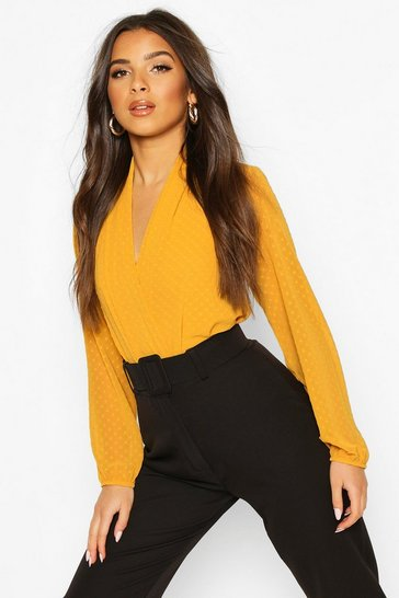 Yellow Wrap Dobby Mesh Bodysuit