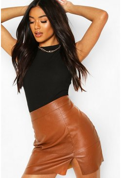 Slit Front Tailored Pu Skirt, Tan