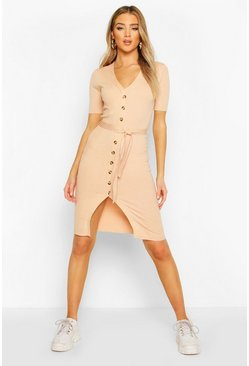 Rib Knit V Neck Belted Dress, Nude