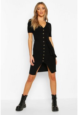Rib Knit V Neck Belted Dress, Black
