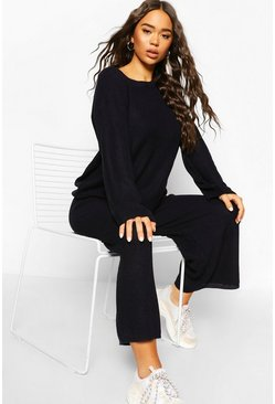 Dark navy Knitted Long Sleeve Culotte Trouser Set