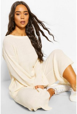 Ivory Knitted Long Sleeve Culotte Trouser Set