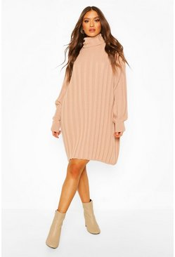 Taupe Roll Neck Rib Knit Mini Dress