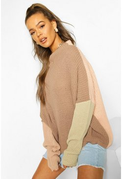 Stone Colourblock Wide Sleeve Jumper