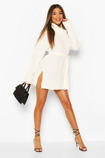 Cream Rib Knit Belted Roll Neck Jumper