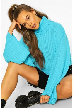 Turquoise Crop Roll Neck Batwing Jumper